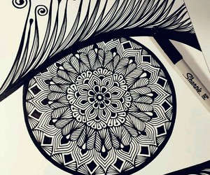 drawing, eye, and mandala image