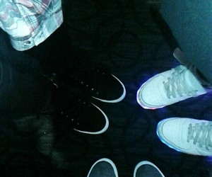 black, black shoes, and light up shoes image