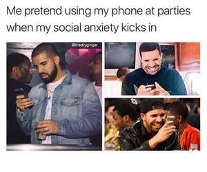 anxiety, anxious, and Drake image