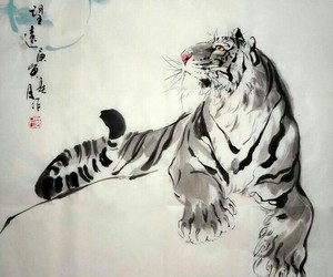 art, chinese, and tiger image