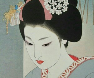 art, geisha, and japanese image