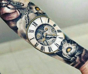clock, tattoo, and flowers image