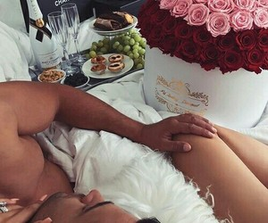 bed, champagne, and couple image