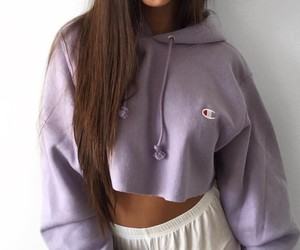 white shorts, long straight brown hair, and lavender crop hoodie image