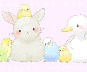 bunny, birds, and Chick image