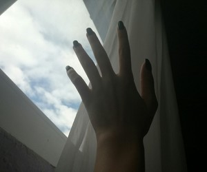 dreams, hand, and touch the sky image