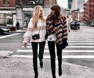 best friends, winter, and city image