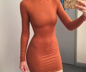 dress, orange, and girl image