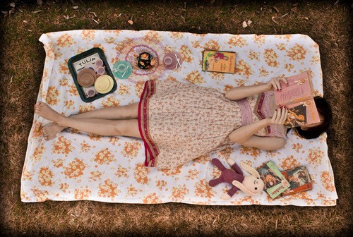 book, girl, and picnic image