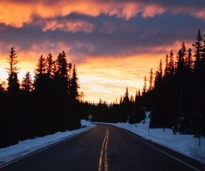 road, sky, and snow image