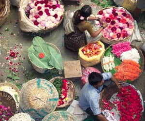 flowers, india, and market image