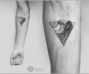 tattoos for men, triangle tattoos, and wave tattoos image