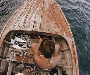 girl, boat, and summer image