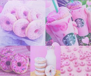 pink, donuts, and starbucks image