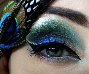 peacock, makeup, and eye image