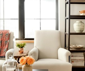 home decor, living room, and whiye arm chairs image