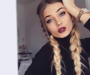 girl, braid, and makeup image