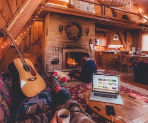 cozy, cabin, and winter image
