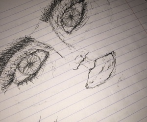 drawing, face, and eyes image
