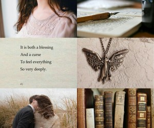 books, characters, and necklace image