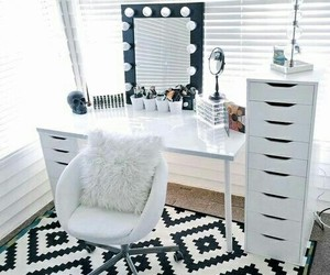 room, white, and makeup image