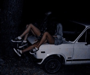 car, friends, and dark image