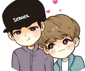sebaek, sehun, and baekhyun image