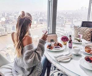 girl, breakfast, and hair image