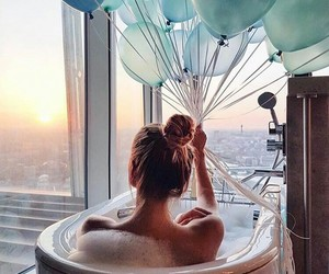 balloons, bath, and view image