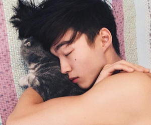 asian, cat, and topless image