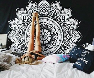 mandala, room, and bed image