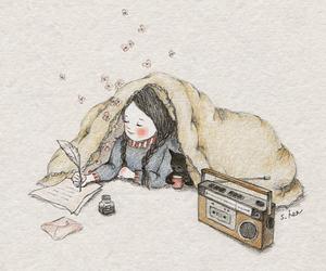 cat, girl, and radio image