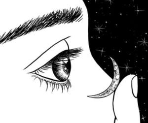 art, moon, and eyes image