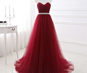 dress, Prom, and burgundy evening dress image