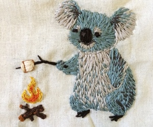 Koala, embroidery, and fire image