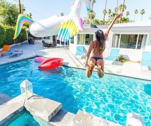 summer, palmtree, and pool image
