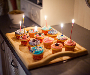 birthday, cupcake, and food image
