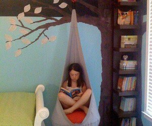 bedroom, girl, and books image