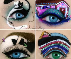eyes, cat, and makeup image