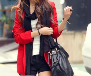 girl, red, and style image