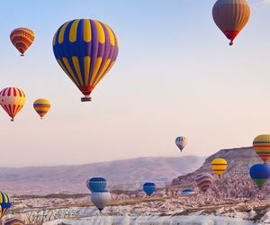 hot air balloon, landscape, and nature image