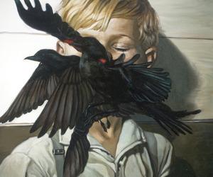 bird, art, and boy image
