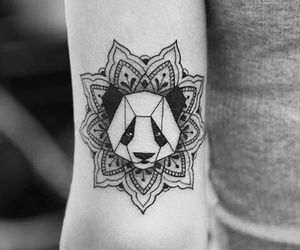 panda, tattoo, and mandala image