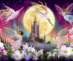 castle, fairy, and flowers image