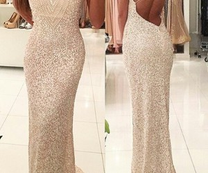 dress, gold dress, and Prom image