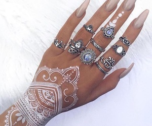 nails, beautiful, and henna image