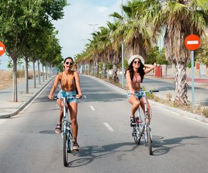 fashion, summer, and bike image