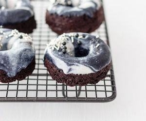 chocolate, donuts, and marbled image