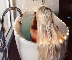 hair, blonde, and bath image
