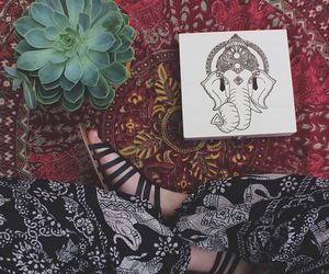 art, hippie, and elephant image